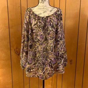 Michael kors paisley ruffle blouse